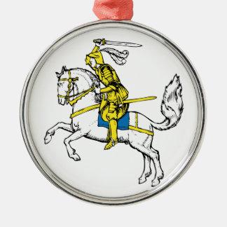 Caballero en armadura amarilla adorno para reyes