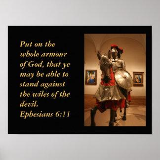 ¡Caballero en armadura brillante!  La protección d Póster