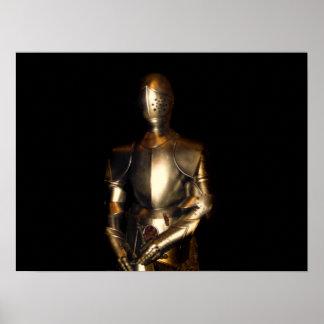 Caballero en armadura brillante póster
