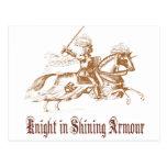 caballero en armadura brillante tarjeta postal