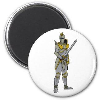 Caballero en armadura imán redondo 5 cm