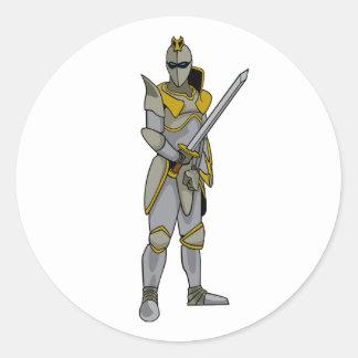 Caballero en armadura etiquetas redondas