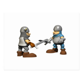 Caballero en armadura que lucha tarjeta postal