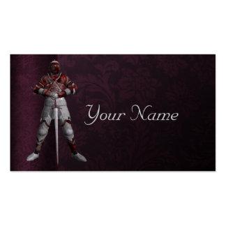 Caballero en armadura tarjetas de visita