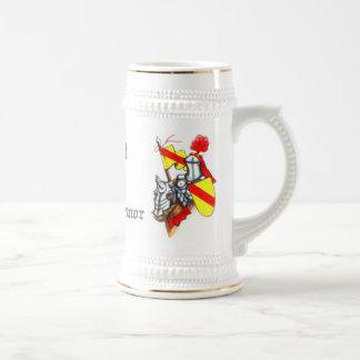 Caballero en arte y texto brillantes de la jarra de cerveza