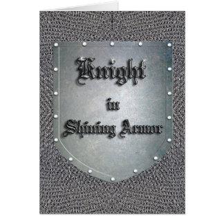 Caballero en el escudo brillante Chainmail de la Tarjeta De Felicitación
