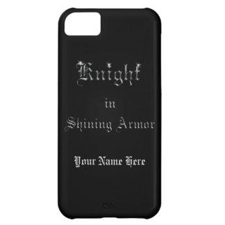Caballero en falso texto de plata de la armadura funda para iPhone 5C