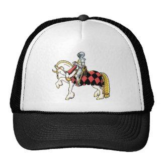 Caballero en su caballo blanco gorros bordados