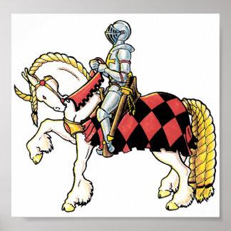 Caballero en su caballo blanco poster