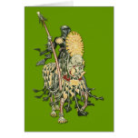 Caballero floral en caballo con la tarjeta de la l