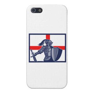 Caballero inglés que sostiene la bandera de Inglat iPhone 5 Carcasas