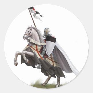 Caballero montado Templar Etiquetas Redondas
