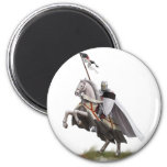 Caballero montado Templar Imán Redondo 5 Cm