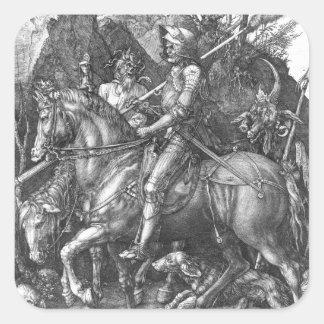 Caballero, muerte y el diablo, 1513 (grabado) pegatina cuadrada