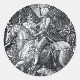 Caballero, muerte y el diablo - Albrecht Dürer Pegatina Redonda