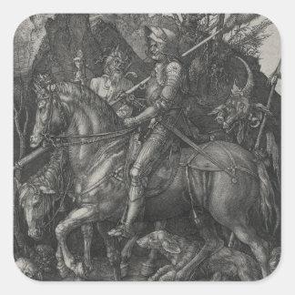 Caballero, muerte y el diablo de Albrecht Durer Pegatina Cuadrada