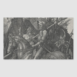 Caballero, muerte y el diablo de Albrecht Durer Pegatina Rectangular