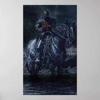 Caballero negro de templo póster