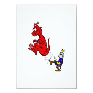 """Caballero que golpea el dragón con el pie invitación 5"""" x 7"""""""