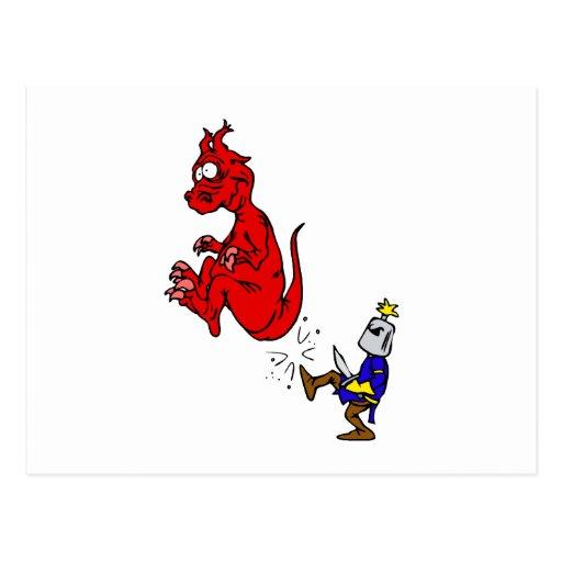 Caballero que golpea el dragón con el pie tarjeta postal
