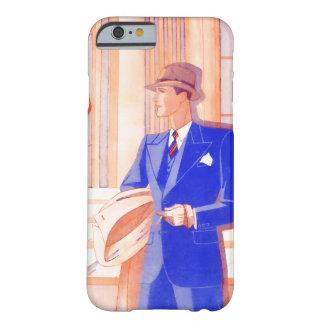 Caballero retro en años 30/años 40 azules del funda para iPhone 6 barely there