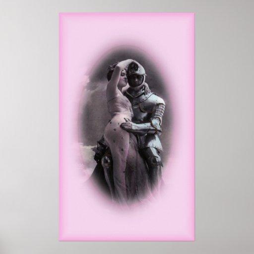 Caballero romántico en armadura brillante posters