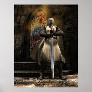 Caballero Templar y santo grial Póster