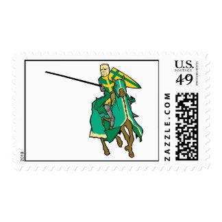 Caballero verde Jousting Timbre Postal