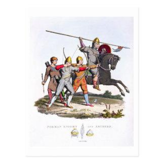 Caballero y Archers normandos, 1066, del 'brazo Tarjeta Postal