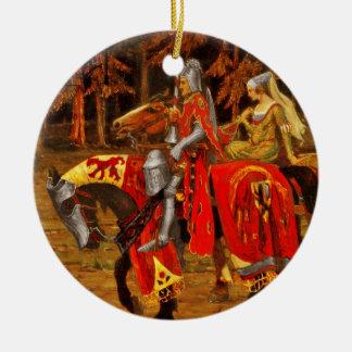 Caballero y caballerosidad virginal adorno navideño redondo de cerámica