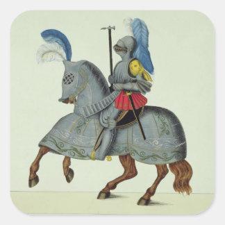Caballero y caballo en la armadura, placa 'de una pegatina cuadrada