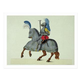 Caballero y caballo en la armadura, placa 'de una postales