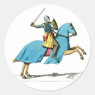caballero y caballo pegatina redonda