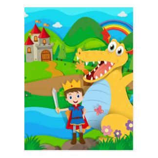 Caballero y dragón en la tierra de hadas postales