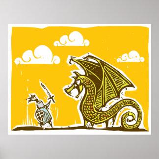 Caballero y dragón impresiones