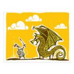 Caballero y dragón postales
