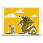 Caballero y dragón tarjeta