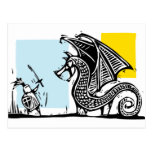 Caballero y dragón tarjeta postal