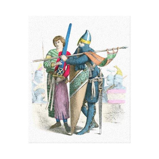 Caballero y escudero - trajes de período impresión en lienzo estirada
