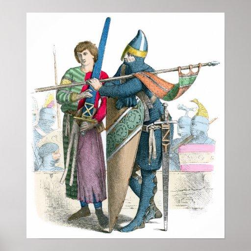 Caballero y escudero - trajes de período póster