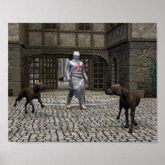 Caballero y perros guardián de Templar en una puer Póster