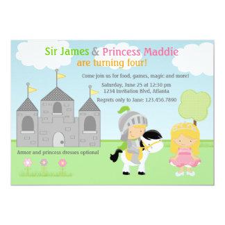 """Caballero y princesa Twins Joint Party Invitation Invitación 5"""" X 7"""""""