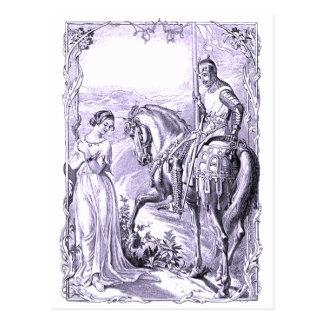 Caballero y señora medievales postal