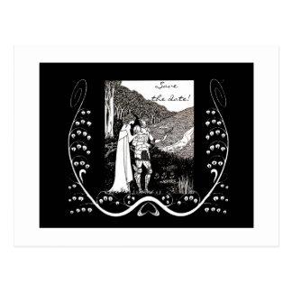 Caballero y señora Save de Beardsley la postal de