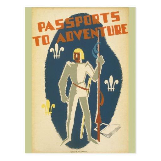 Caballeros, aventuras, y poster de los libros postal