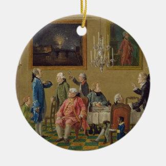 Caballeros británicos en el hogar de sir Horacio Adorno Redondo De Cerámica