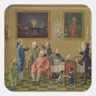 Caballeros británicos en el hogar de sir Horacio Pegatina Cuadrada