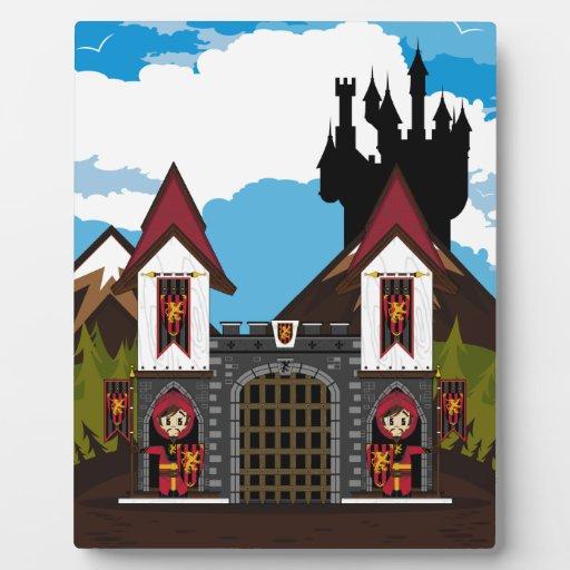 Caballeros del cruzado en la placa del castillo