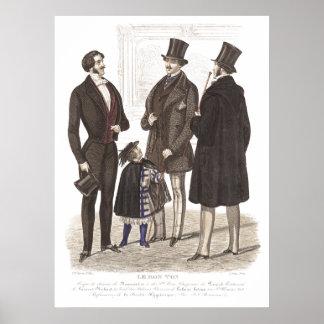 Caballeros elegantes de Biedermeier en sombreros Póster