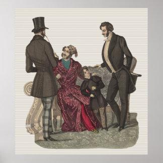 Caballeros elegantes del período de Biedermeier Póster